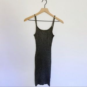 ANGL Grey Ribbed Bodycon Maxi Dress